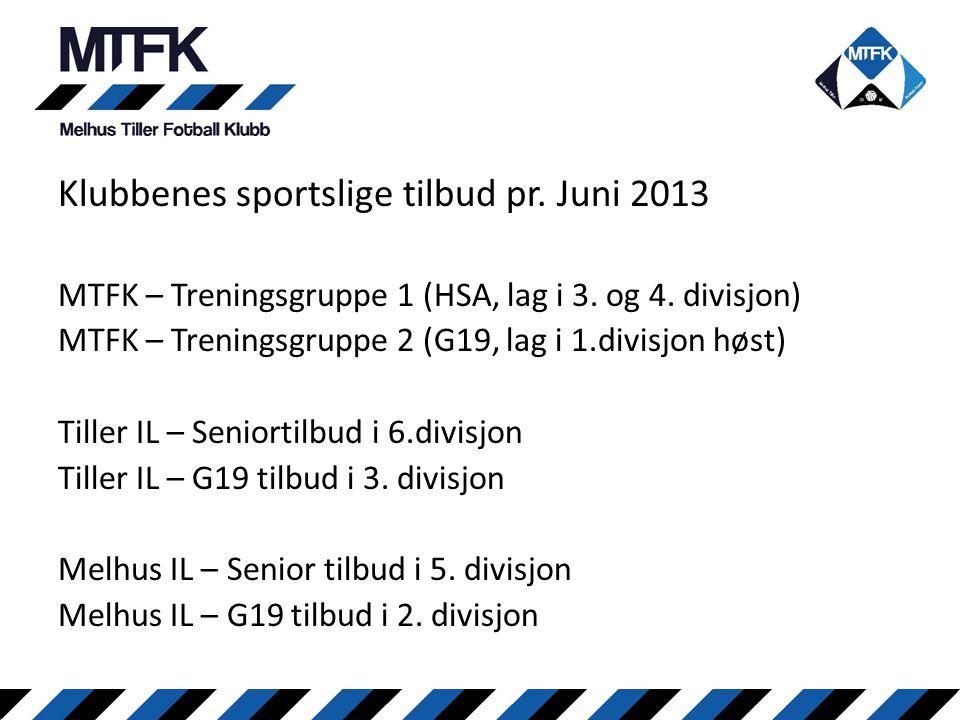 Klubbenes sportslige tilbud pr. Juni 2013 MTFK – Treningsgruppe 1 (HSA, lag i 3. og 4. divisjon) MTFK – Treningsgruppe 2 (G19, lag i 1.divisjon høst)