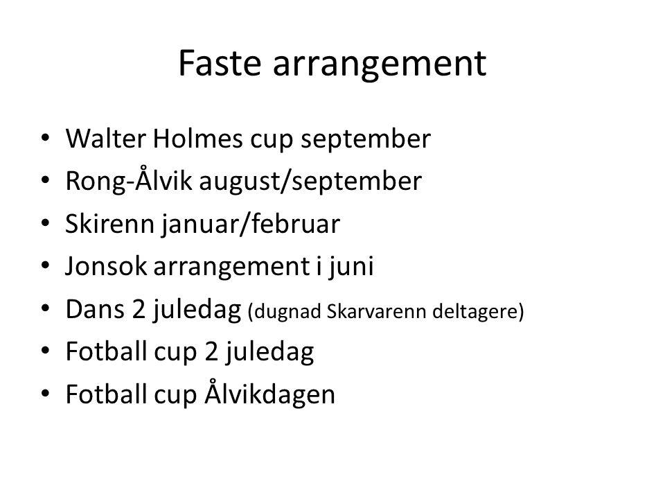 Faste arrangement • Walter Holmes cup september • Rong-Ålvik august/september • Skirenn januar/februar • Jonsok arrangement i juni • Dans 2 juledag (d