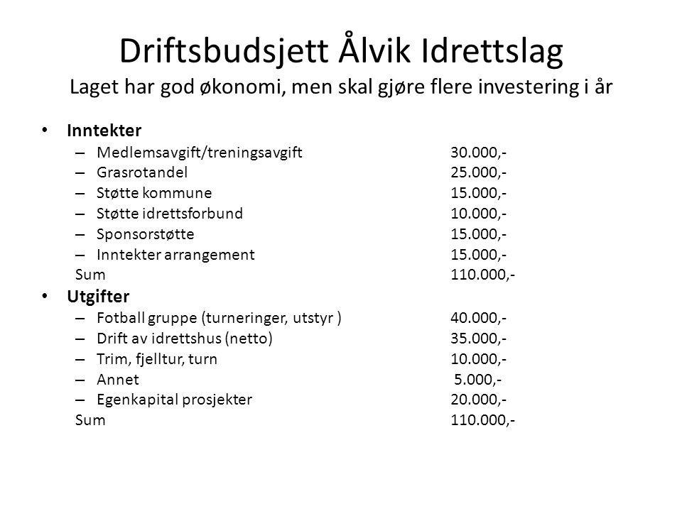 Driftsbudsjett Ålvik Idrettslag Laget har god økonomi, men skal gjøre flere investering i år • Inntekter – Medlemsavgift/treningsavgift 30.000,- – Gra
