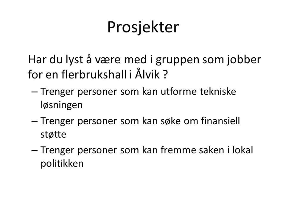 Prosjekter Har du lyst å være med i gruppen som jobber for en flerbrukshall i Ålvik ? – Trenger personer som kan utforme tekniske løsningen – Trenger