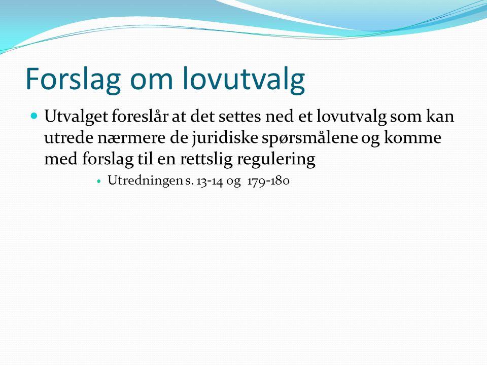 Internasjonale menneskerettigheter  Utvalget legger til grunn at staten gjennom gjeldende norsk lovgivning ivaretar sine menneskerettsforpliktelser  Utredningen s.