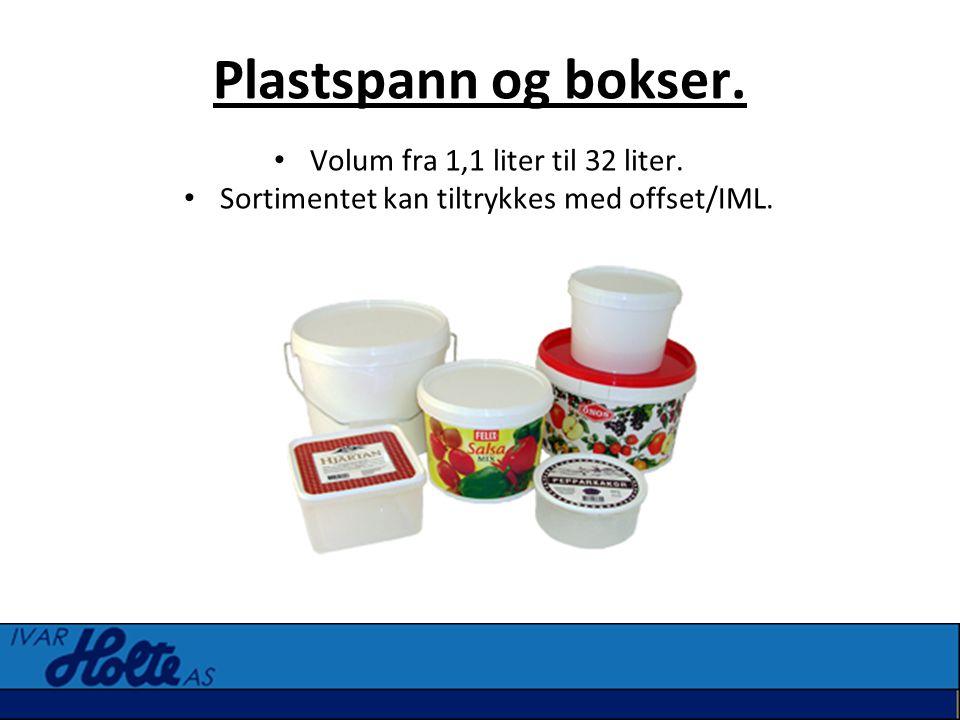 Plastspann og bokser. • Volum fra 1,1 liter til 32 liter. • Sortimentet kan tiltrykkes med offset/IML.