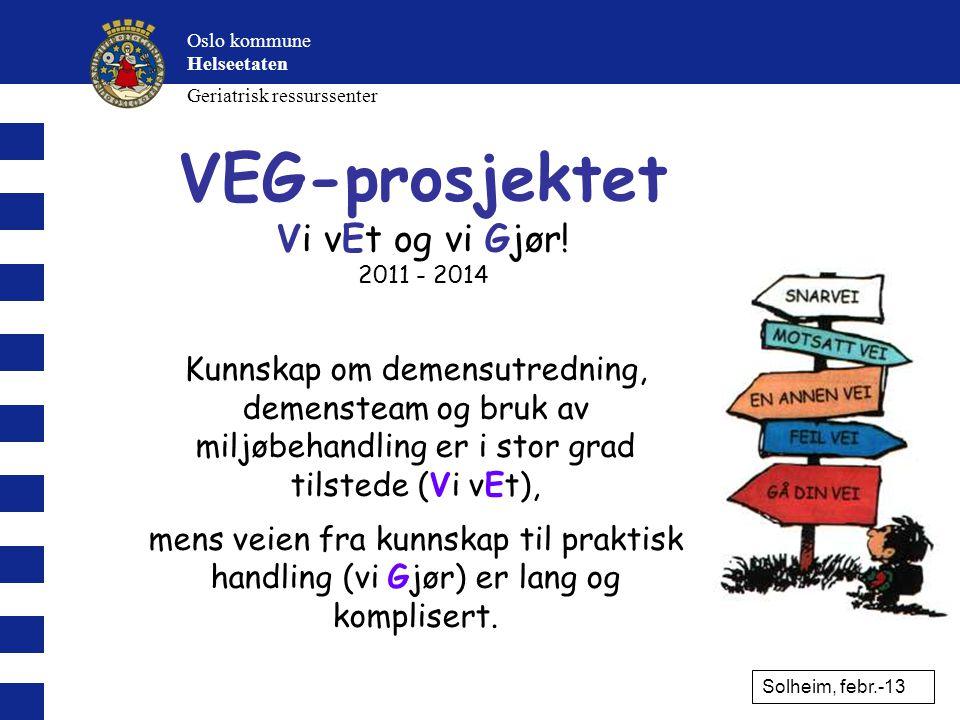 VEG - Forankret hos: •Byrådsadministrasjonen (v/ Eva Waaler) •HEL – Prosit (v/ Bente Riis / Kirsti Pedersen) •SYE (v/ Lederteamet + Kvalitetsavd.