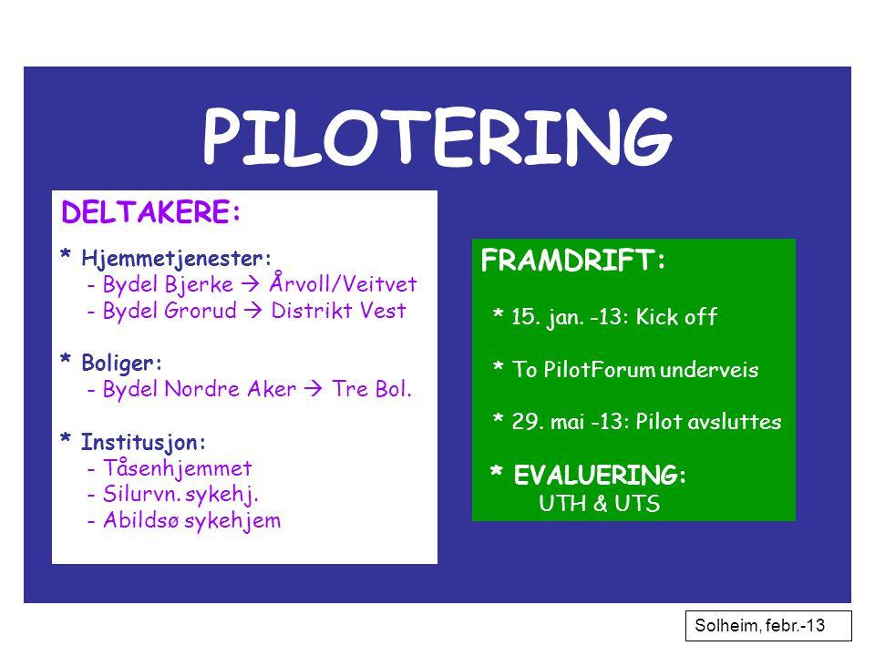 PILOTERING DELTAKERE: * Hjemmetjenester: - Bydel Bjerke  Årvoll/Veitvet - Bydel Grorud  Distrikt Vest * Boliger: - Bydel Nordre Aker  Tre Bol. * In