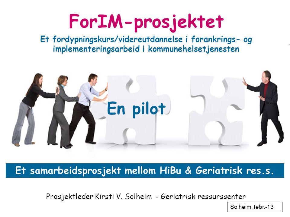 Et samarbeidsprosjekt mellom HiBu & Geriatrisk res.s. En pilot ForIM-prosjektet Et fordypningskurs/videreutdannelse i forankrings- og implementeringsa