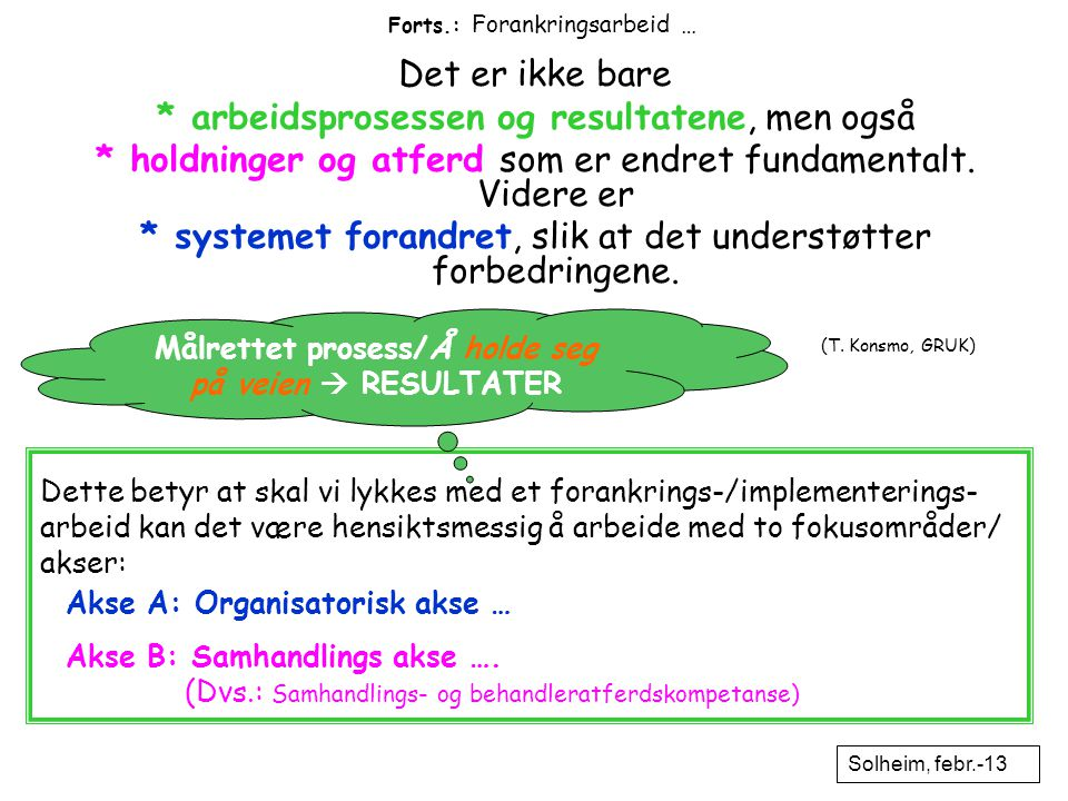 Forts.: Forankringsarbeid … (T. Konsmo, GRUK) Det er ikke bare * arbeidsprosessen og resultatene, men også * holdninger og atferd som er endret fundam