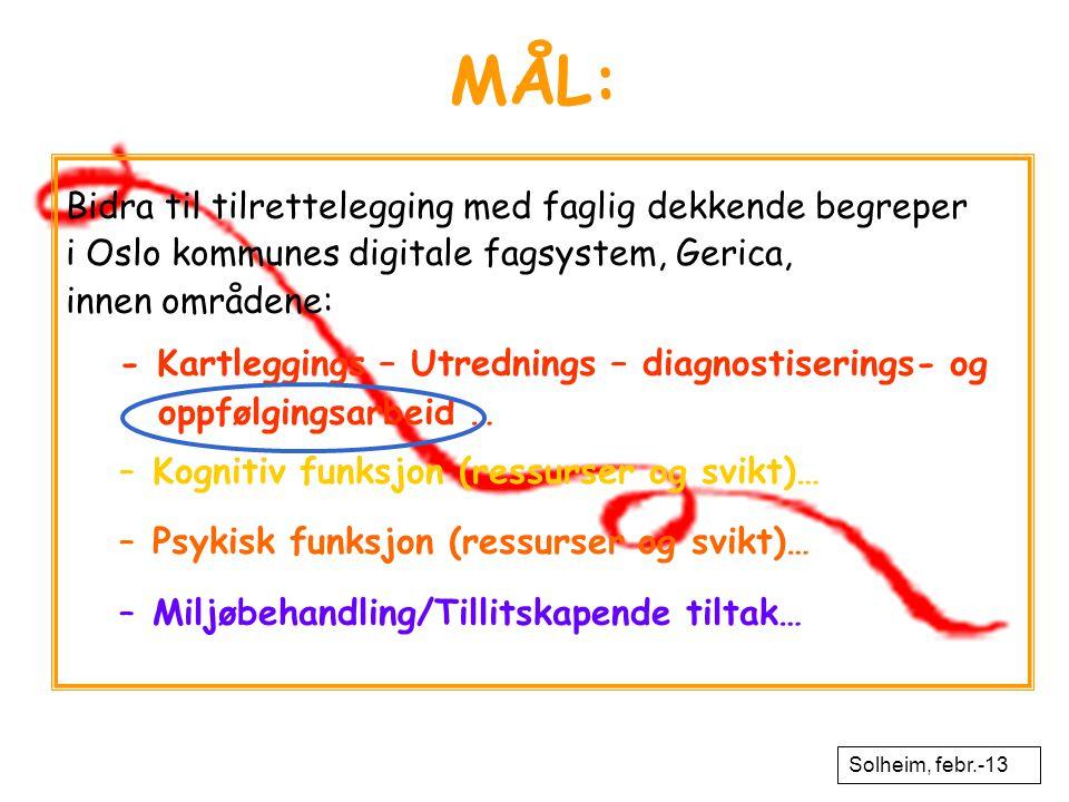 MÅL: Bidra til tilrettelegging med faglig dekkende begreper i Oslo kommunes digitale fagsystem, Gerica, innen områdene: - Kartleggings – Utrednings –