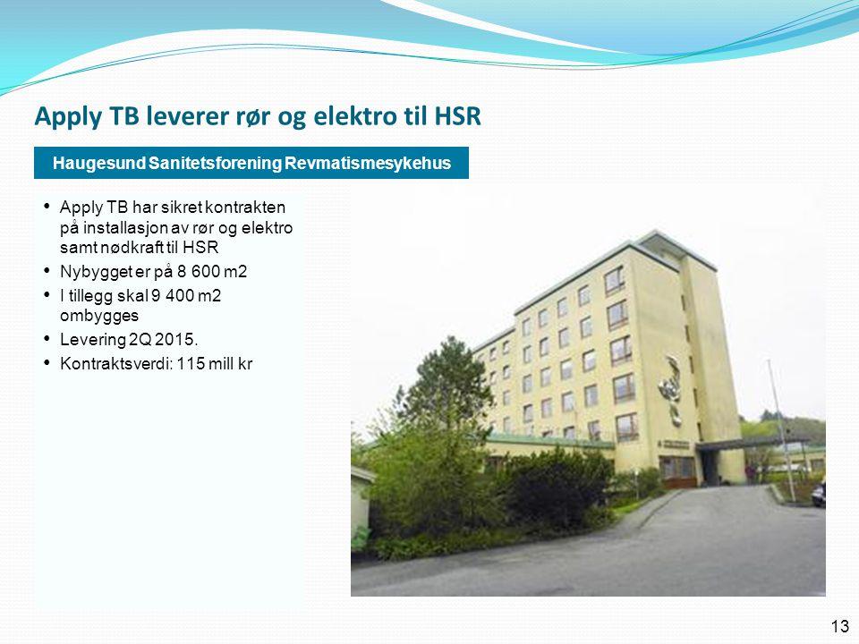 Apply TB leverer rør og elektro til HSR 13 Haugesund Sanitetsforening Revmatismesykehus • Apply TB har sikret kontrakten på installasjon av rør og ele