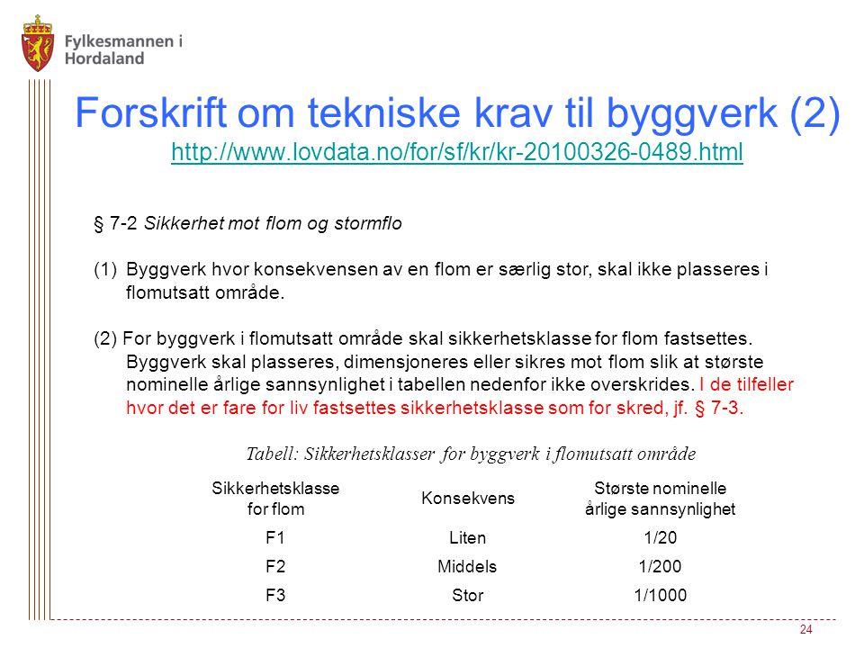 Forskrift om tekniske krav til byggverk (2) http://www.lovdata.no/for/sf/kr/kr-20100326-0489.html http://www.lovdata.no/for/sf/kr/kr-20100326-0489.htm