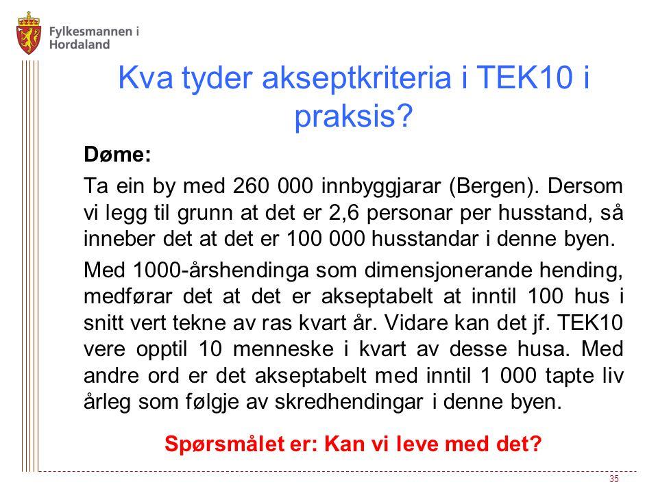 Kva tyder akseptkriteria i TEK10 i praksis? Døme: Ta ein by med 260 000 innbyggjarar (Bergen). Dersom vi legg til grunn at det er 2,6 personar per hus