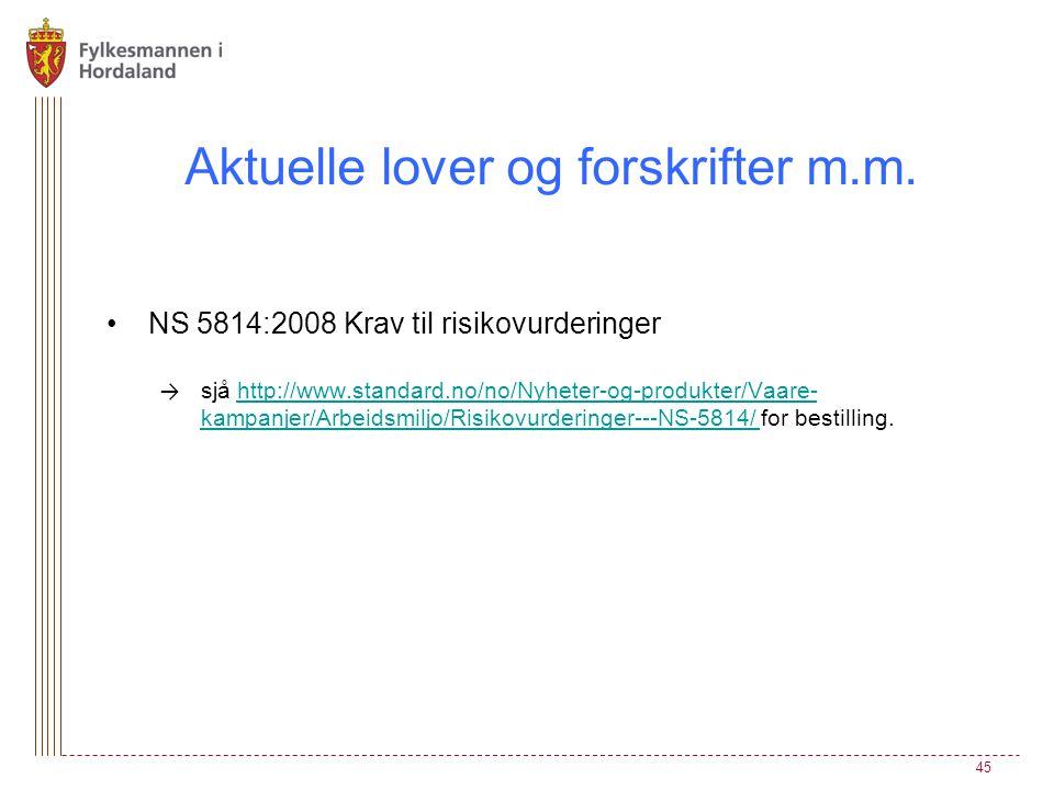 •NS 5814:2008 Krav til risikovurderinger → sjå http://www.standard.no/no/Nyheter-og-produkter/Vaare- kampanjer/Arbeidsmiljo/Risikovurderinger---NS-581