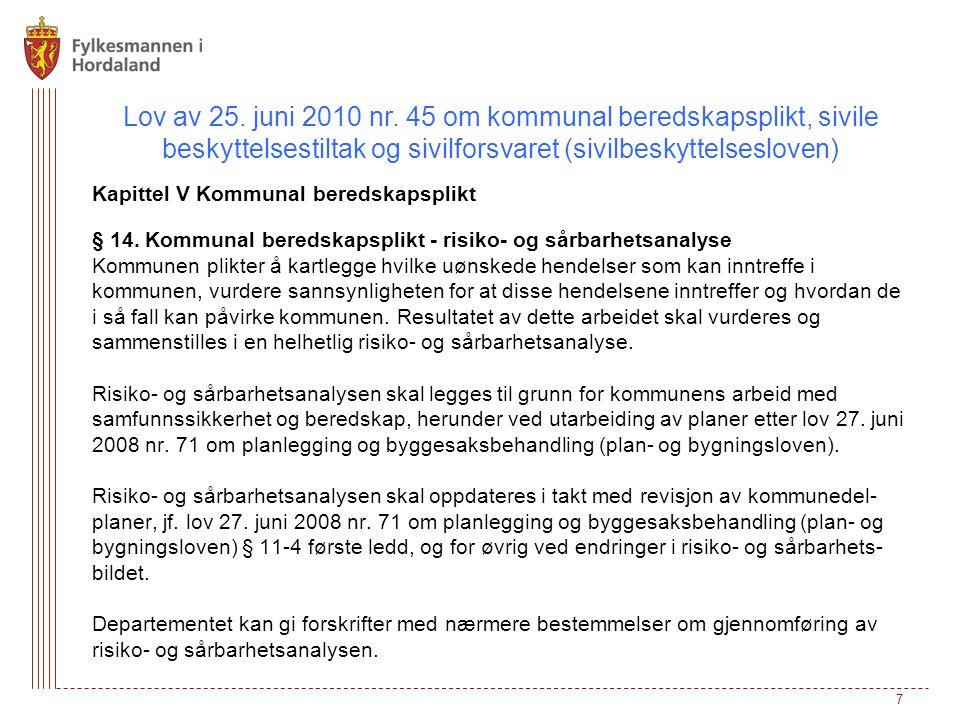 Lov av 25. juni 2010 nr. 45 om kommunal beredskapsplikt, sivile beskyttelsestiltak og sivilforsvaret (sivilbeskyttelsesloven) Kapittel V Kommunal bere