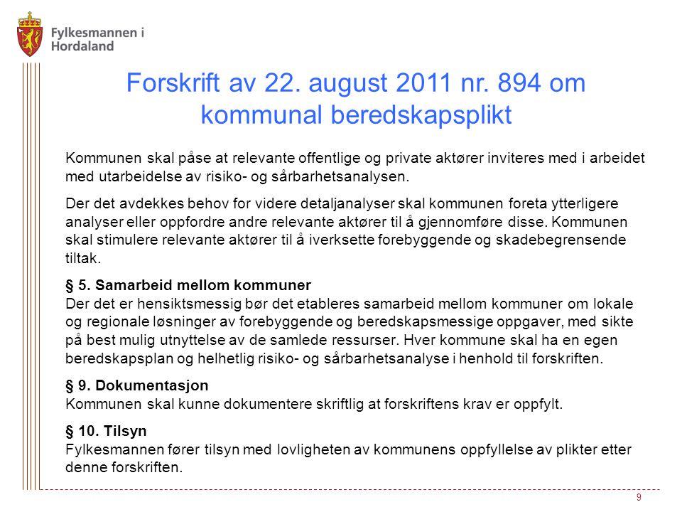 Forskrift av 22. august 2011 nr. 894 om kommunal beredskapsplikt Kommunen skal påse at relevante offentlige og private aktører inviteres med i arbeide