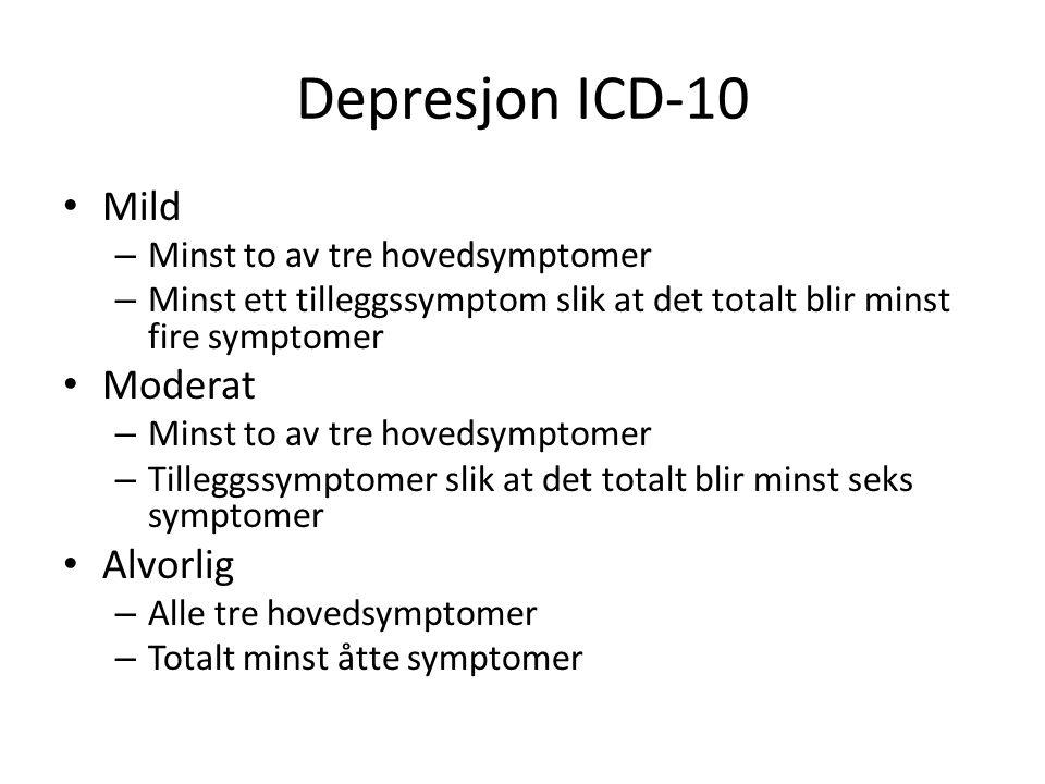 Depresjon ICD-10 • Mild – Minst to av tre hovedsymptomer – Minst ett tilleggssymptom slik at det totalt blir minst fire symptomer • Moderat – Minst to av tre hovedsymptomer – Tilleggssymptomer slik at det totalt blir minst seks symptomer • Alvorlig – Alle tre hovedsymptomer – Totalt minst åtte symptomer