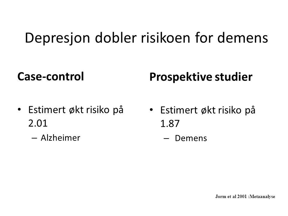 Depresjon dobler risikoen for demens Case-control • Estimert økt risiko på 2.01 – Alzheimer Prospektive studier • Estimert økt risiko på 1.87 – Demens Jorm et al 2001 :Metaanalyse