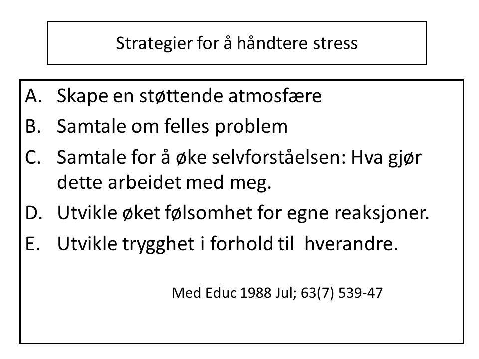 Strategier for å håndtere stress A.Skape en støttende atmosfære B.Samtale om felles problem C.Samtale for å øke selvforståelsen: Hva gjør dette arbeidet med meg.