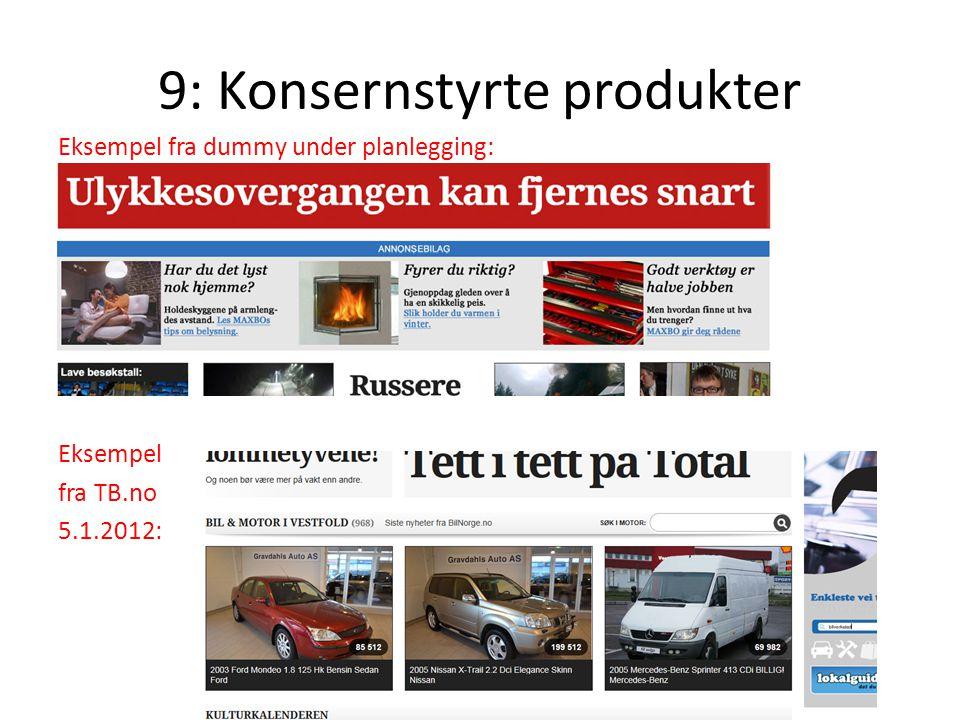 9: Konsernstyrte produkter Eksempel fra dummy under planlegging: Eksempel fra TB.no 5.1.2012: