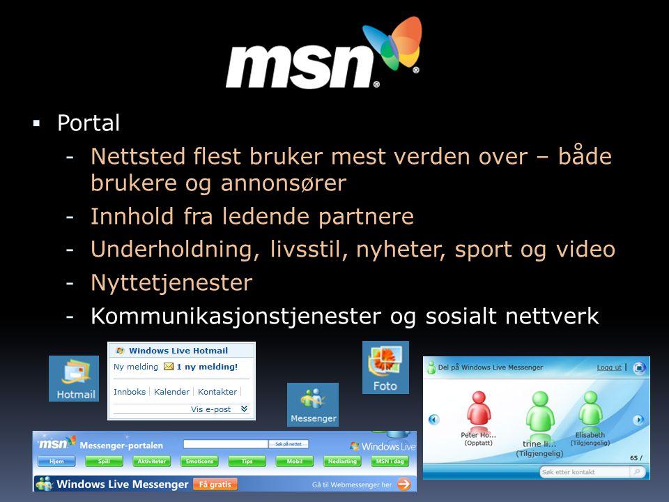  Portal - Nettsted flest bruker mest verden over – både brukere og annonsører - Innhold fra ledende partnere - Underholdning, livsstil, nyheter, sport og video - Nyttetjenester - Kommunikasjonstjenester og sosialt nettverk