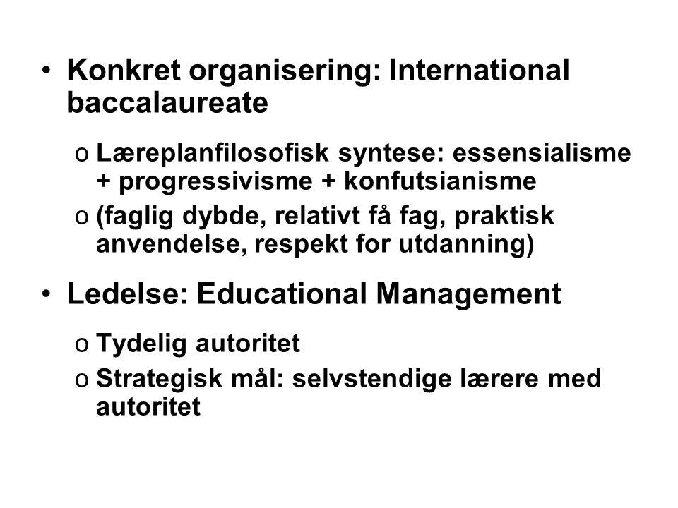 •Konkret organisering: International baccalaureate oLæreplanfilosofisk syntese: essensialisme + progressivisme + konfutsianisme o(faglig dybde, relati