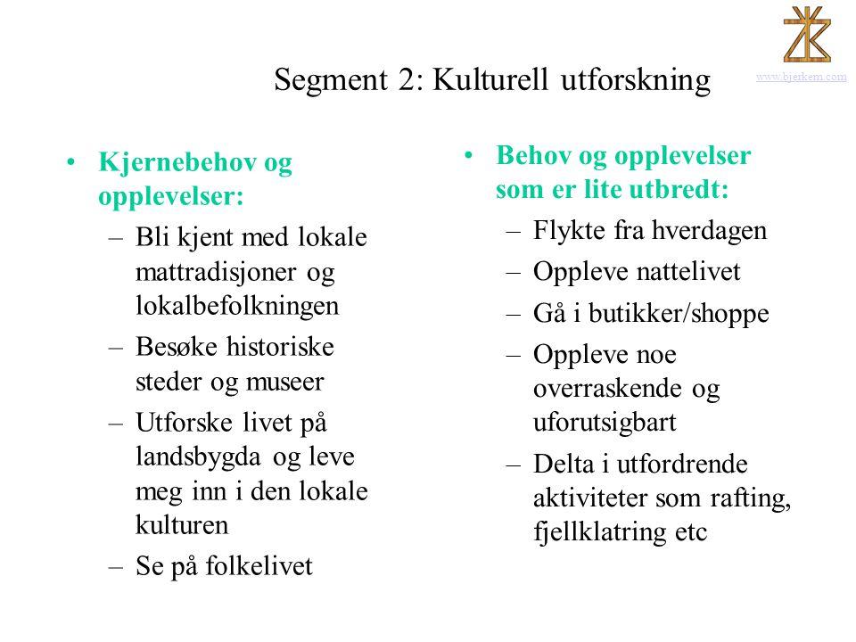 www.bjerkem.com Segment 2: Kulturell utforskning •Kjernebehov og opplevelser: –Bli kjent med lokale mattradisjoner og lokalbefolkningen –Besøke histor