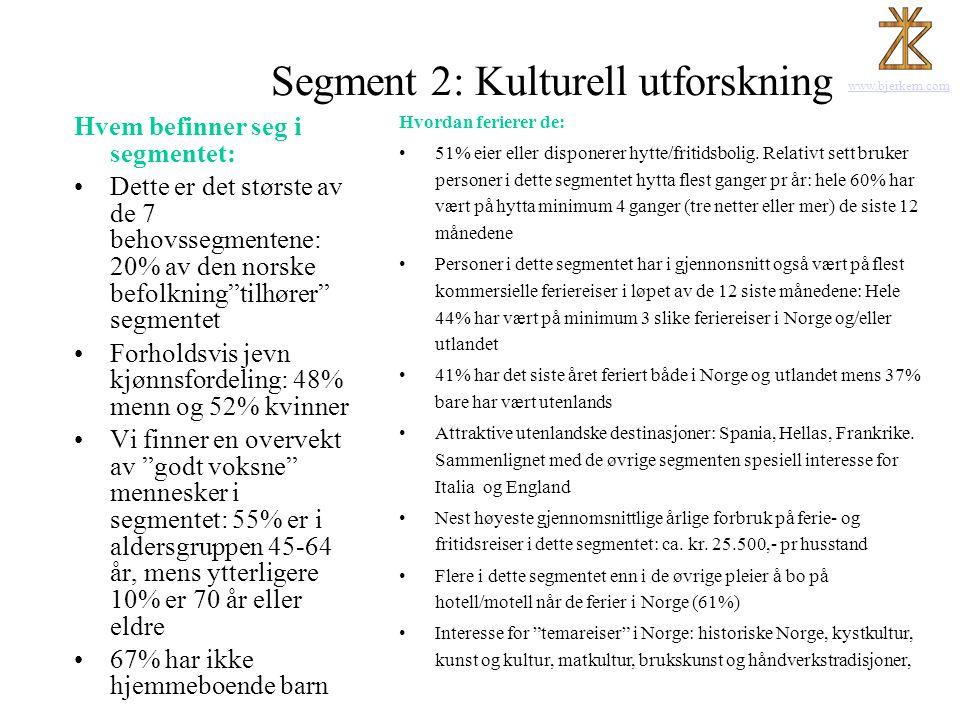 www.bjerkem.com Segment 2: Kulturell utforskning Hvem befinner seg i segmentet: •Dette er det største av de 7 behovssegmentene: 20% av den norske befo