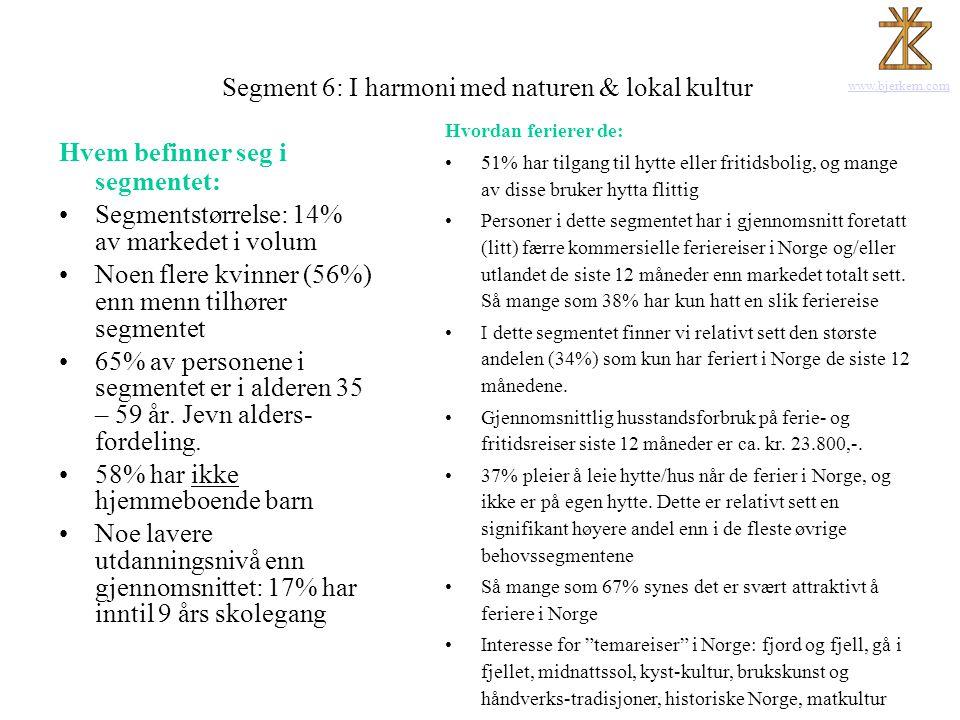 www.bjerkem.com Segment 6: I harmoni med naturen & lokal kultur Hvem befinner seg i segmentet: •Segmentstørrelse: 14% av markedet i volum •Noen flere