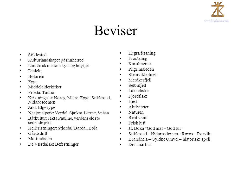 www.bjerkem.com Beviser •Stiklestad •Kulturlandskapet på Innherred •Landbruk mellom kyst og høyfjel •Dialekt •Bølarein •Egge •Middelalderkirker •Frost