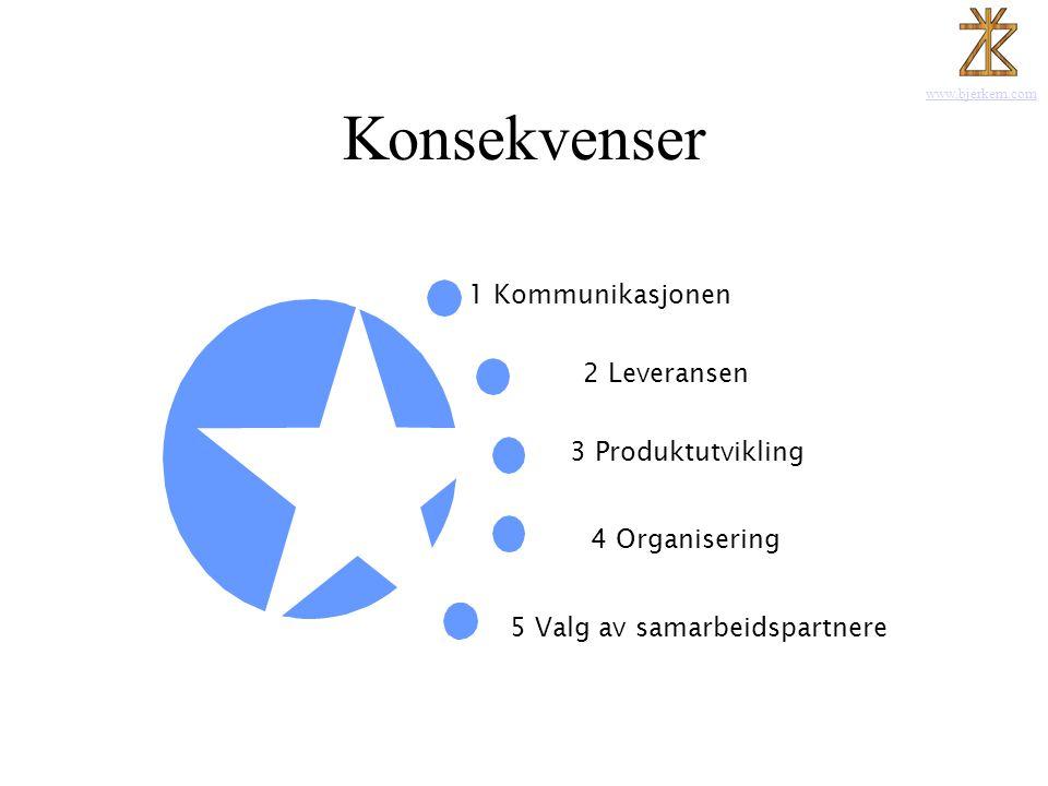 www.bjerkem.com Konsekvenser 1 Kommunikasjonen Posisjon - Trøndelag 2 Leveransen 3 Produktutvikling 4 Organisering 5 Valg av samarbeidspartnere