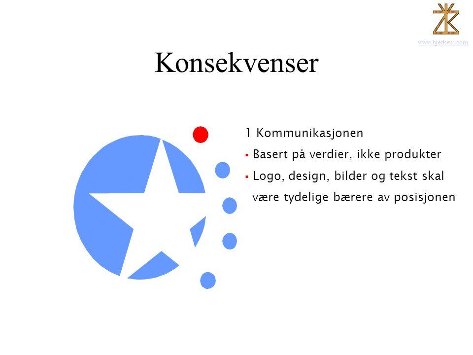 www.bjerkem.com Konsekvenser 1 Kommunikasjonen  Basert på verdier, ikke produkter  Logo, design, bilder og tekst skal være tydelige bærere av posisj