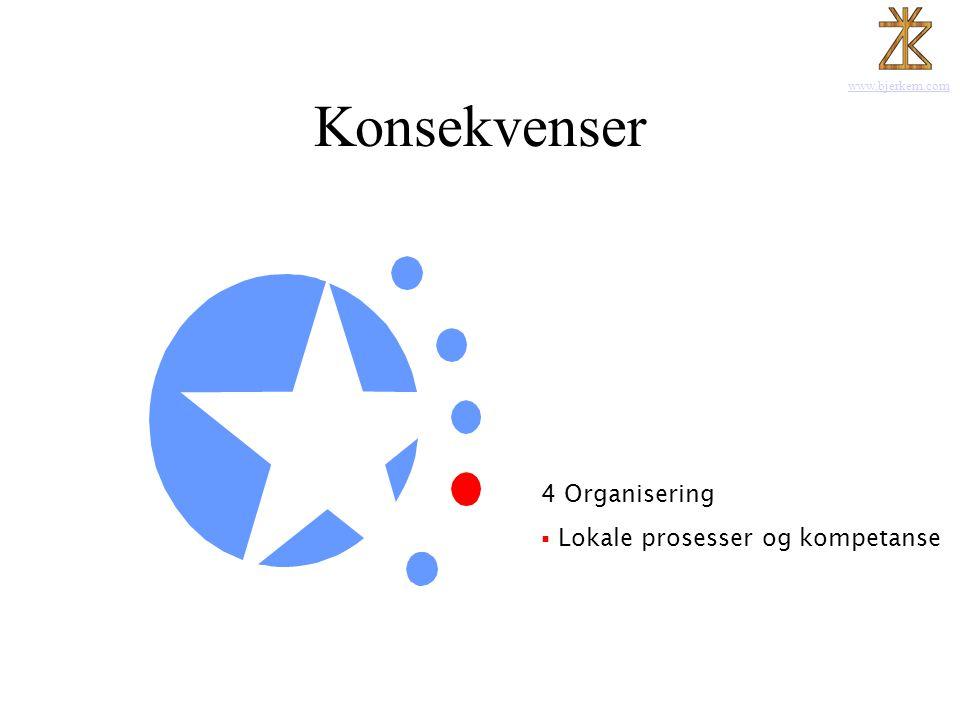 www.bjerkem.com Konsekvenser 1 Kommunikasjonen Posisjon - Trøndelag 2 Leveransen 3 Produktutvikling 4 Organisering  Lokale prosesser og kompetanse