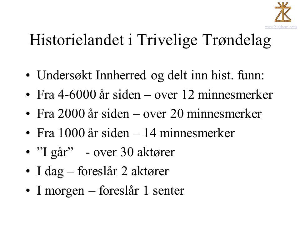 www.bjerkem.com Historielandet i Trivelige Trøndelag •Undersøkt Innherred og delt inn hist. funn: •Fra 4-6000 år siden – over 12 minnesmerker •Fra 200
