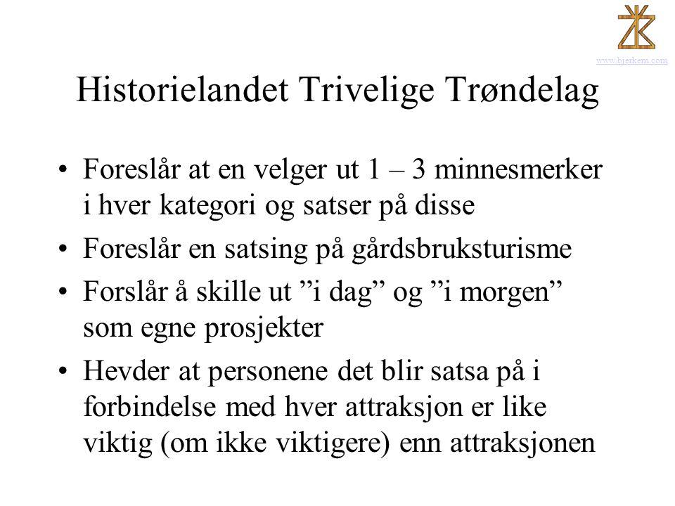www.bjerkem.com Historielandet Trivelige Trøndelag •Foreslår at en velger ut 1 – 3 minnesmerker i hver kategori og satser på disse •Foreslår en satsin
