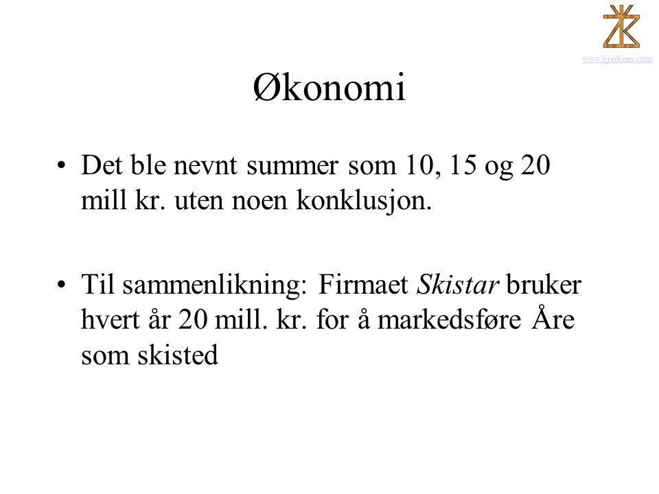 www.bjerkem.com Økonomi •Det ble nevnt summer som 10, 15 og 20 mill kr. uten noen konklusjon. •Til sammenlikning: Firmaet Skistar bruker hvert år 20 m