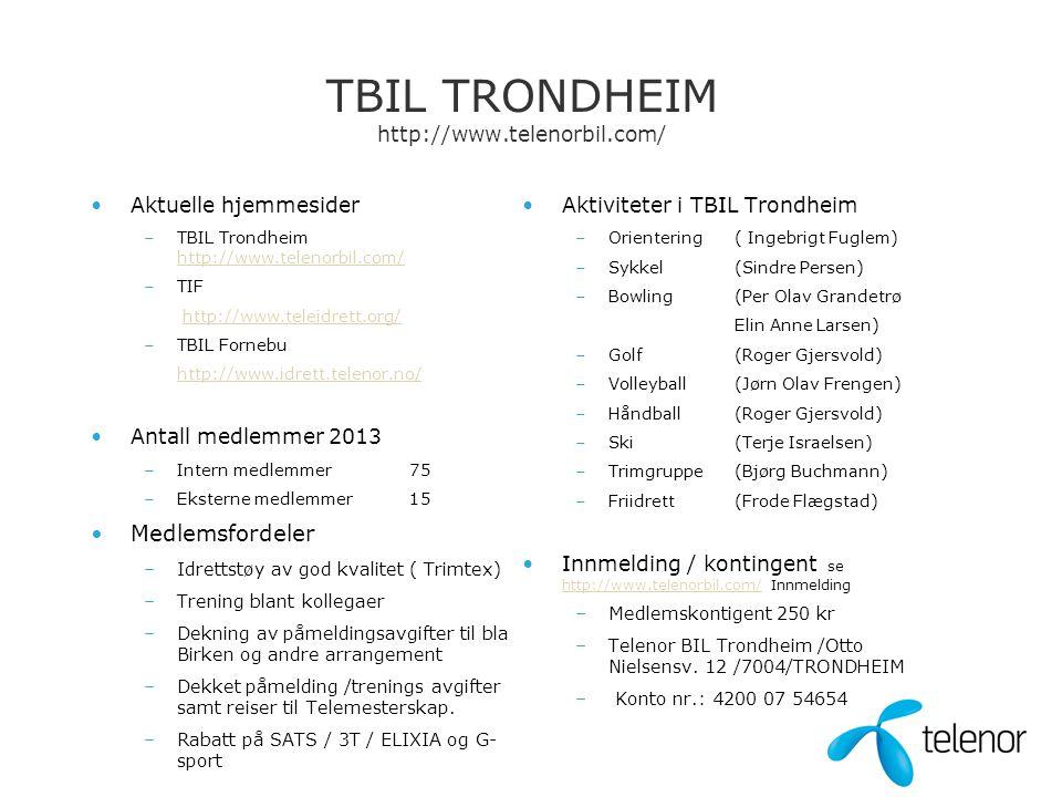 TBIL TRONDHEIM http://www.telenorbil.com/ •Aktuelle hjemmesider –TBIL Trondheim http://www.telenorbil.com/ http://www.telenorbil.com/ –TIF http://www.