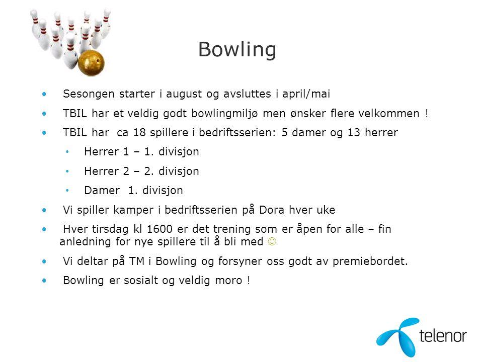 Bowling • Sesongen starter i august og avsluttes i april/mai • TBIL har et veldig godt bowlingmiljø men ønsker flere velkommen ! • TBIL har ca 18 spil