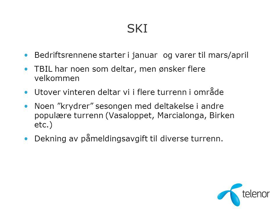 SKI •Bedriftsrennene starter i januar og varer til mars/april •TBIL har noen som deltar, men ønsker flere velkommen •Utover vinteren deltar vi i flere