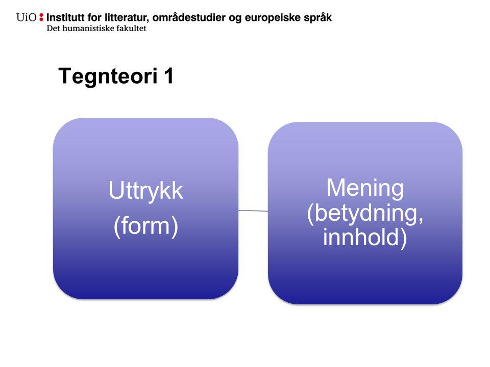 Tegnteori 1 Uttrykk (form) Mening (betydning, innhold)