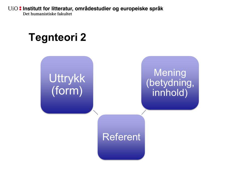Tegnteori 2 Referent Uttrykk (form) Mening (betydning, innhold)