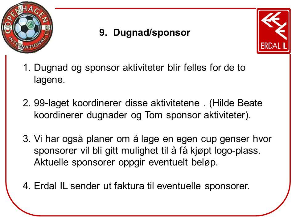 9. Dugnad/sponsor 1.Dugnad og sponsor aktiviteter blir felles for de to lagene. 2.99-laget koordinerer disse aktivitetene. (Hilde Beate koordinerer du