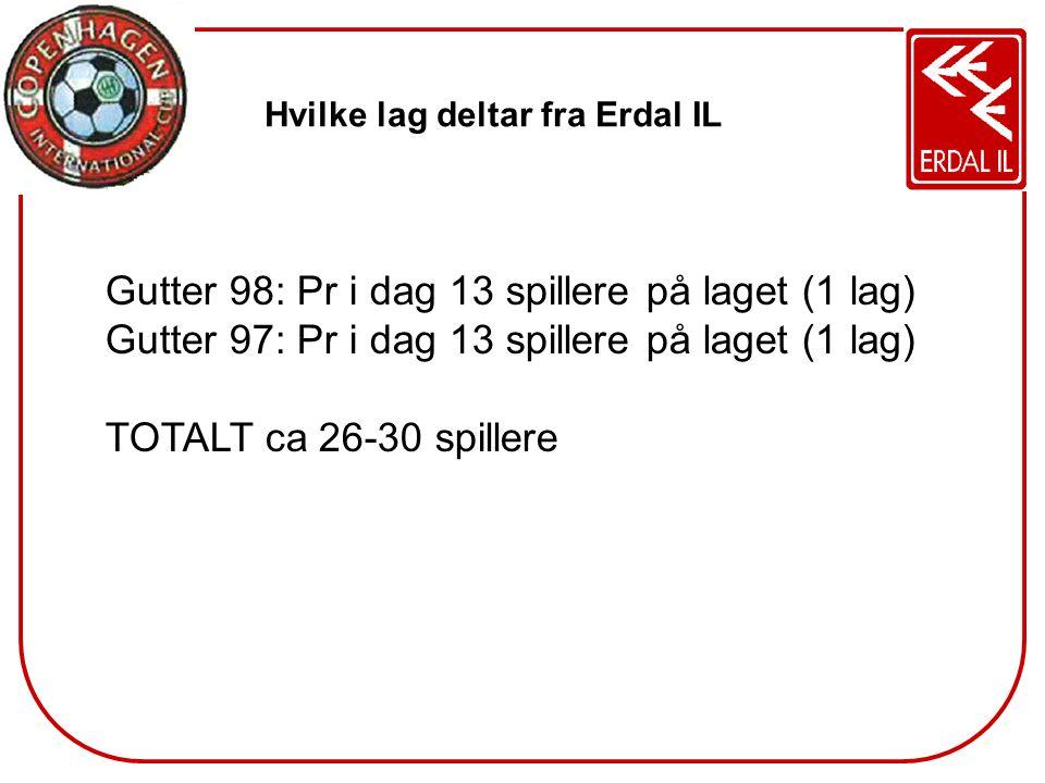 Hvilke lag deltar fra Erdal IL Gutter 98: Pr i dag 13 spillere på laget (1 lag) Gutter 97: Pr i dag 13 spillere på laget (1 lag) TOTALT ca 26-30 spill