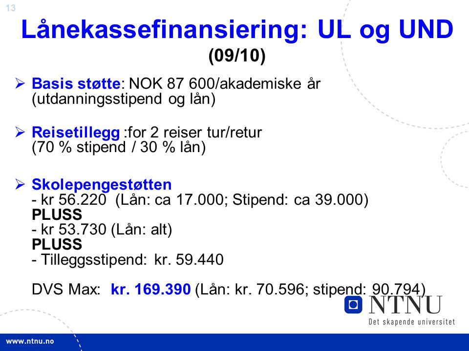 13 Lånekassefinansiering: UL og UND (09/10)  Basis støtte: NOK 87 600/akademiske år (utdanningsstipend og lån)  Reisetillegg :for 2 reiser tur/retur (70 % stipend / 30 % lån)  Skolepengestøtten - kr 56.220 (Lån: ca 17.000; Stipend: ca 39.000) PLUSS - kr 53.730 (Lån: alt) PLUSS - Tilleggsstipend: kr.