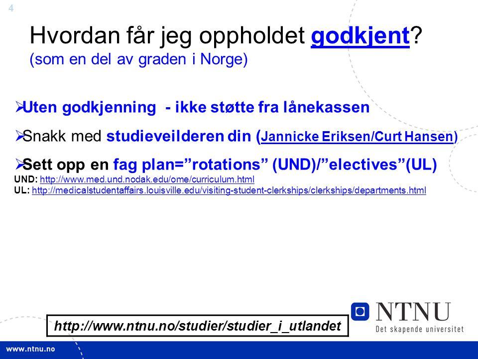 15 Viktige/Nyttige LINKER Delstudier i utlandet http://www.ntnu.no/studier/studier_i_utlandet http://www.ntnu.no/studier/studier_i_utlandet Oppdatere kontakt opplysninger/skriv rapport: http://www.ntnu.no/studier/studier_i_utlandet/kontakt Tips om Statement of Purpose: www.ntnu.no/international/statementofpurpose.pdf http://www.ntnu.no/studier/studier_i_utlandet/kontakt Student rapporter http://www.ntnu.no/studier/studier_i_utlandet/erfaringsutveksling NTNU engelsk studiehåndbok http://www.ntnu.no/studies/search_courses Søknad om studieplass/godkjenning/ stipend http://www.intersek.ntnu.no/soknadsskjema/ Foreløpig vurdering av støtte www.lanekassen.nowww.lanekassen.no (klikk på BLANKETTER i venstre meny) Utreise om høsten: send søknaden etter 1.jan se sample søknad: http://www.ntnu.no/international/usa/lanekassensample http://www.ntnu.no/international/usa/lanekassensample Visum til USA SEVIS gebyr ESTA Amerikansk ambassaden: søknad om visum: http://norway.usembassy.gov/ Oppsummering visum til USA: www.ntnu.no/international/usa/visa.pdfhttp://norway.usembassy.gov/www.ntnu.no/international/usa/visa.pdf Pay the Sevis fee: https://www.fmjfee.com/i901fee/ Register on-line Esta: https://esta.cbp.dhs.govhttps://www.fmjfee.com/i901fee/https://esta.cbp.dhs.gov Info om Esta: http://norway.usembassy.gov/root/pdfs/esta-tearsheet.pdf