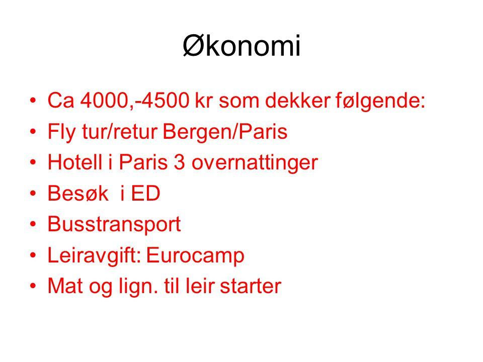 Økonomi •Ca 4000,-4500 kr som dekker følgende: •Fly tur/retur Bergen/Paris •Hotell i Paris 3 overnattinger •Besøk i ED •Busstransport •Leiravgift: Eur