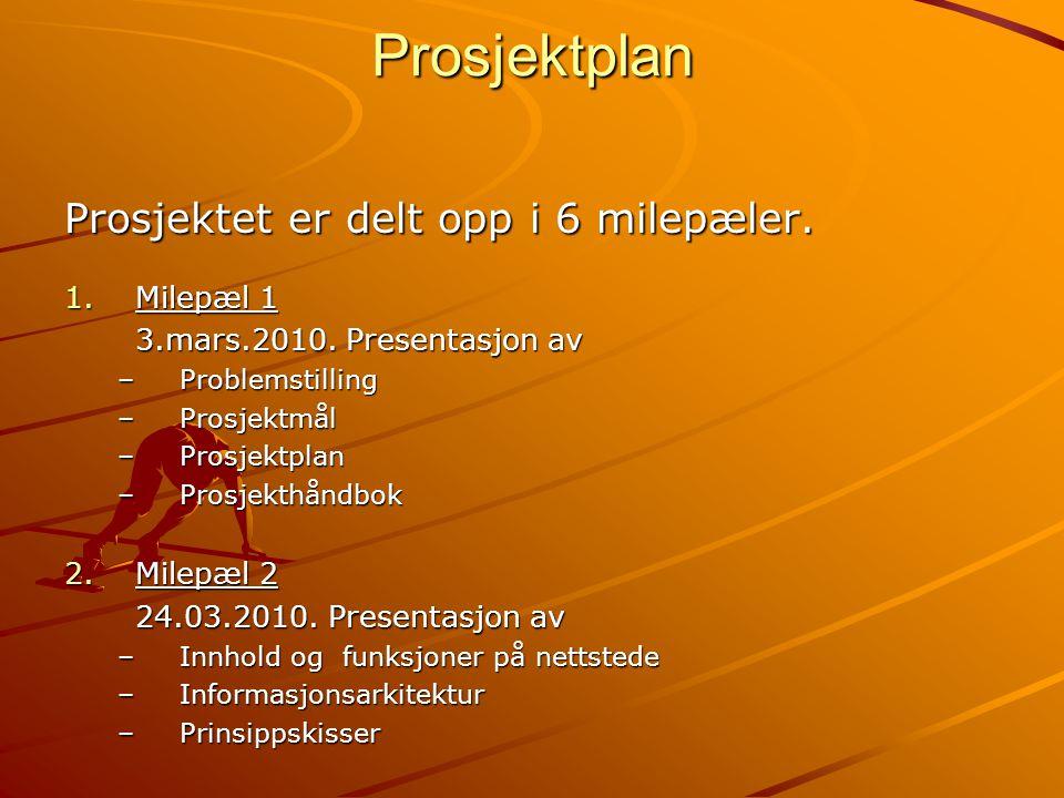 Prosjektplan Prosjektet er delt opp i 6 milepæler. 1.Milepæl 1 3.mars.2010. Presentasjon av –Problemstilling –Prosjektmål –Prosjektplan –Prosjekthåndb