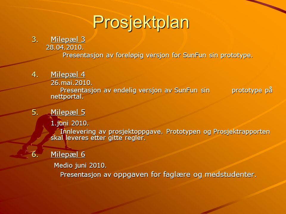 Prosjektplan 3.Milepæl 3 28.04.2010. Presentasjon av foreløpig versjon for SunFun sin prototype. 4.Milepæl 4 26.mai.2010. Presentasjon av endelig vers