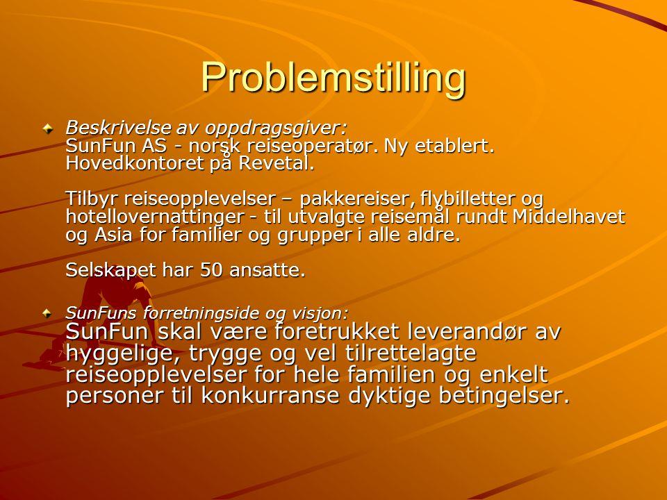 Problemstilling Beskrivelse av oppdragsgiver: SunFun AS - norsk reiseoperatør. Ny etablert. Hovedkontoret på Revetal. Tilbyr reiseopplevelser – pakker