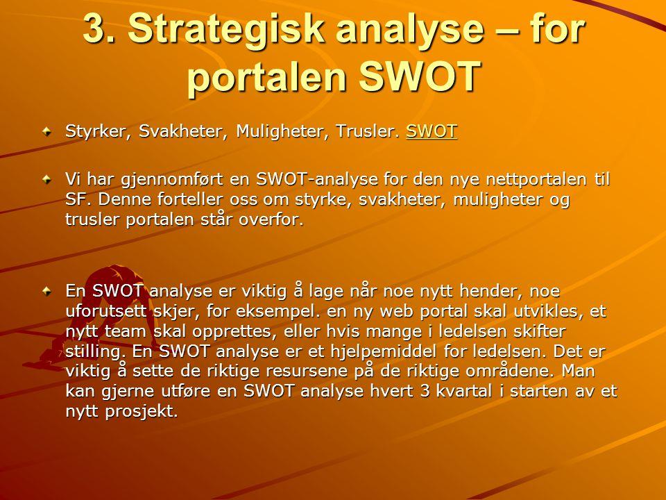 3. Strategisk analyse – for portalen SWOT Styrker, Svakheter, Muligheter, Trusler. SWOT SWOT Vi har gjennomført en SWOT-analyse for den nye nettportal