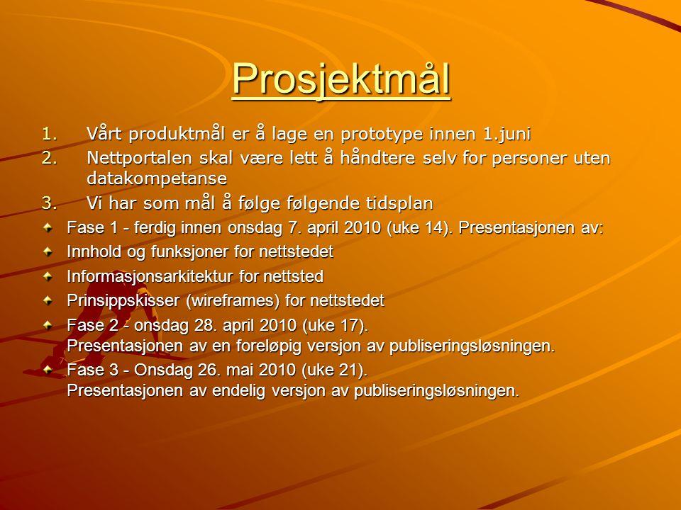 Prosjektmål 1.Vårt produktmål er å lage en prototype innen 1.juni 2.Nettportalen skal være lett å håndtere selv for personer uten datakompetanse 3.Vi