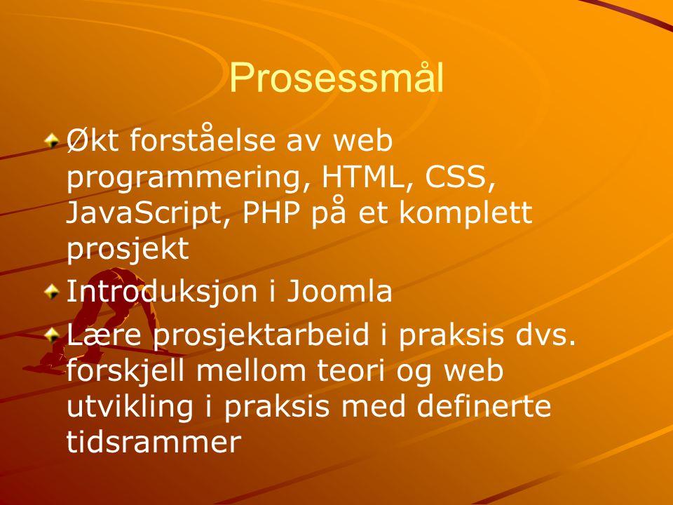 Prosessmål Økt forståelse av web programmering, HTML, CSS, JavaScript, PHP på et komplett prosjekt Introduksjon i Joomla Lære prosjektarbeid i praksis