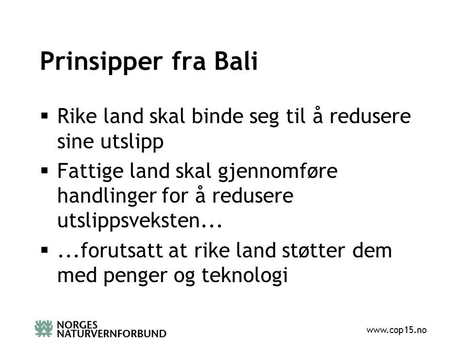 www.cop15.no Prinsipper fra Bali  Rike land skal binde seg til å redusere sine utslipp  Fattige land skal gjennomføre handlinger for å redusere utslippsveksten...